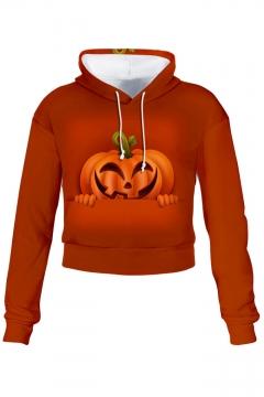 3D Pumpkin Printed Long Sleeve Halloween Series Drawstring Cropped Hoodie