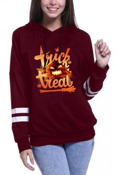 Halloween Color Block Trick Or Treat Letter Pumpkin Printed Long Sleeve Hoodie