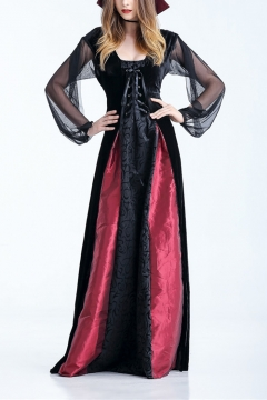 Halloween New Stylish Square Neck Split Sleeve Tie Back And Front Cosplay Costume Maxi A-Line Nightclub Dress