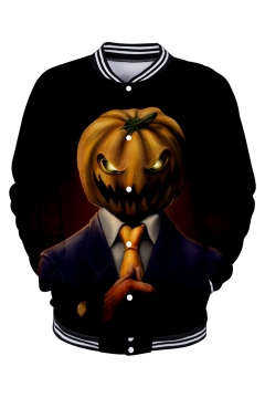 Popular Halloween Pumpkin Pattern Rib Stand Collar Long Sleeve Button Front Black Unisex Baseball Jacket