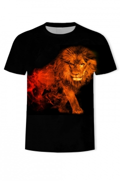 Mens New Trendy Short Sleeve Round Neck Lion Fire Printed Black T-Shirt