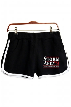 Funny Popular Letter Storm Area Printed Casual Sport Dolphin Shorts