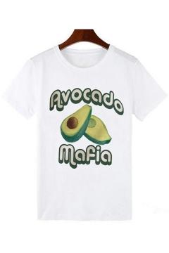 Summer Hot Trendy Funny Cartoon Avocado Printed White Round Neck Short Sleeve T-Shirt