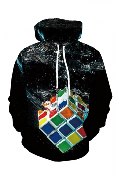 New Fashion Water Rubik's Cube 3D Printed Long Sleeve Black Casual Loose Hoodie