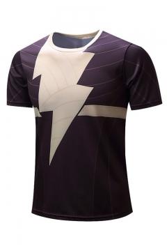Summer Stylish Lighting Pattern Round Neck Short Sleeve Brown T-Shirt For Men
