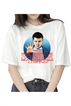 Hot Popular Stranger Things Figure Printed Round Neck Short Sleeve White T-Shirt