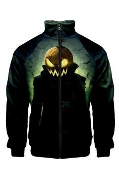 New Stylish Halloween Pumpkin Pattern Stand Collar Long Sleeve Black Baseball Jacket