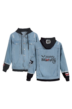 Hot Sale Letter HAPPY HALLOWEEN Printed Ripped Long Sleeve Button Down Hooded Denim Jacket Coat