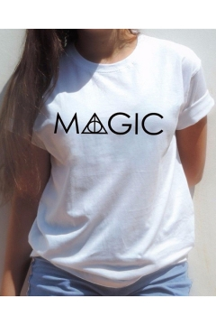 Summer Hot Trendy Simple Letter Magic Printed Crewneck Short Sleeve T-Shirt