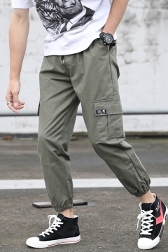 Mens Popular Fashion Solid Color Drawstring Waist Elastic Cuffs Casual Sports Cargo Pants with Side Pocket