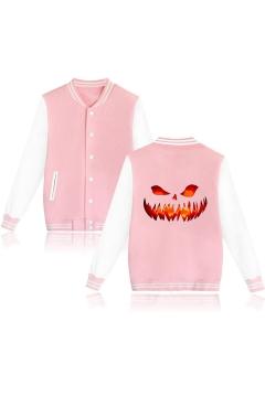 Guys Stylish Cool Halloween Fire Pumpkin Printed Stand Collar Long Sleeve Casual Baseball Jacket
