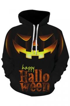 Halloween Cool Pumpkin Figure 3D Print Long Sleeve Unisex Hoodie