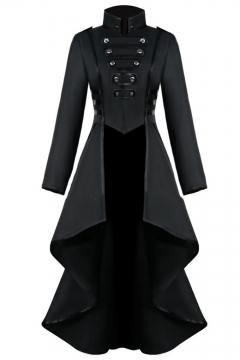 Womens Hot Popular Vintage Medieval Retro Cosplay Costume Turn-Down Collar Long Sleeve Longline Asymmetrical Swallowtail Coat