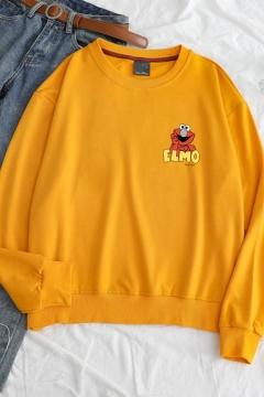 Funny Cartoon Animal Letter ELMO Printed Long Sleeve Round Neck Loose Sweatshirt