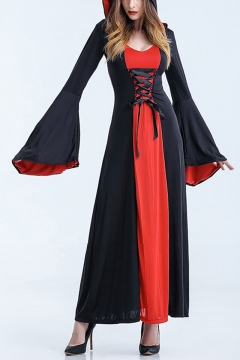 Halloween Scary Cosplay Costumes Hoodie Witch Costume Grim Reaper Women Long Lace-Up Dress