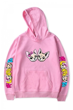 Fashion Cartoon Letter Logo Print Loose Relaxed Casual Unisex Hoodie