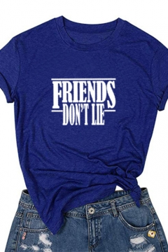 FRIENDS DON'T LIE Letter Round Neck Short Sleeves Basic Tee