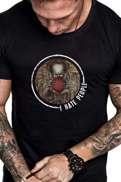Mens I HATE PEOPLE Letter Clown Printed Round Neck Short Sleeve T-Shirt