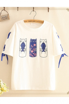 Funny Cartoon Fish and Cat Print Tied Up Short Sleeve Students Casual Tee