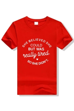SHE BELIEVED SHE COULD Letter Printed Round Neck Short Sleeve Unisex T-Shirt