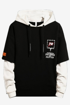 Mens Stylish Letter Printed Colorblocked Drawstring Hooded Fake Two-Piece Long Sleeve Loose Pullover Hoodie