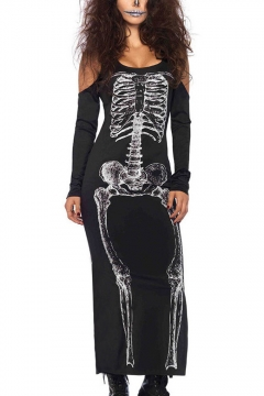 Womens Halloween Black Scary Monster Skull Skeleton Printed Round Neck Off Shoulder Long Sleeves Bodycon Maxi Dress