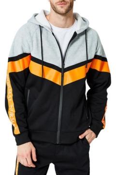 Men's Hot Fashion Colorblock Stripe Pattern Long Sleeve Casual Drawstring Zip Up Hoodie