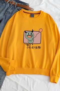 Funny Cartoon Animal Japanese Printed Round Neck Long Sleeve Relaxed Sweatshirt