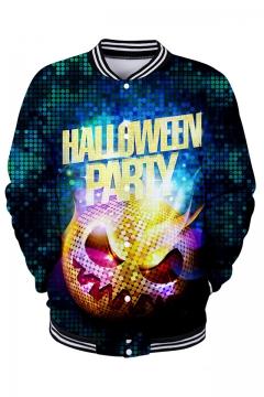 Halloween Party 3D Pumpkin Printed Rib Stand Collar Long Sleeve Unisex Baseball Jacket