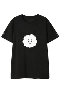 Kpop Boy Band Funny Cute Cartoon Printed Basic Short Sleeve Casual Tee