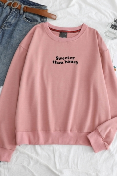 Unisex Sweeter Than Honey Letter Long Sleeve Round Neck Loose Sweatshirt