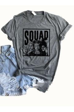 Halloween Squad Figure Printed Round Neck Short Sleeve Leisure T-Shirt