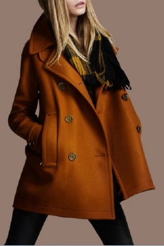 Women's Lapel Collar Double Breasted Fashion Woolen Coat with Pockets