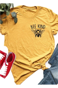 Funny Letter BEE KIND Printed Round Neck Short Sleeve Yellow Graphic Tee