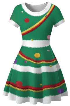 Christmas 3D Printed Round Neck Short Sleeve Mini A-Line Dress