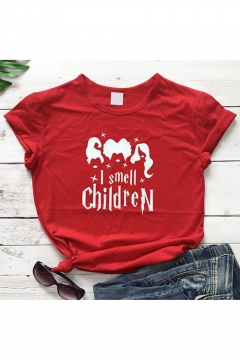 Funny Letter I Smell Children Figure Printed Round Neck Short Sleeve Leisure T-Shirt