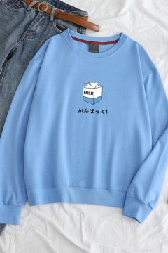 Milk Carton Letter Print Long Sleeve Round Neck Loose Sweatshirt