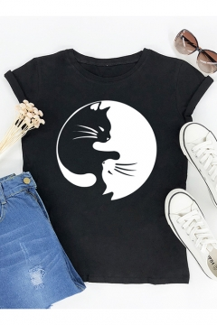 Cute Black and White Cat Printed Round Neck Short Sleeve Cotton Loose Tee