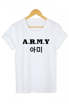 Fashion Kpop Boy Band Letter ARMY Printed Basic Short Sleeve Casual Tee