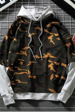 Mens Cool Fashion Camouflage Printed Fake Two-Piece Long Sleeve Casual Pullover Hoodie