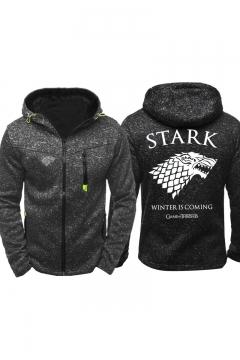 Game of Thrones Stark Wolf Printed Long Sleeve Full Zip Fitted Hoodie