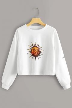 Simple Sun Pattern Round Neck Long Sleeve White Leisure Crop Sweatshirt