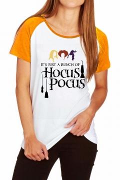 Trendy Halloween Hocus Pocus Letter Color Block Raglan Short Sleeve T-Shirt
