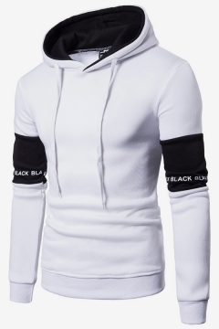 Mens Popular Fashion Letter Printed Colorblocked Long Sleeve Casual Sports Slim Fit Hoodie