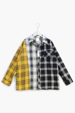 Popular Kpop Boy Band Fashion Colorblocked Check Print Long Sleeve Over Shirt