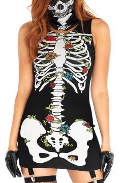 Hot Popular Halloween Black Scary Monster Skull Skeleton Pattern Sleeveless Mini Bodycon Dress With Mask