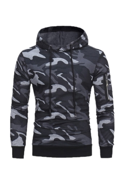 Fashion Camo Print Zipoer Embellished Long Sleeve Drawstring Hoodie