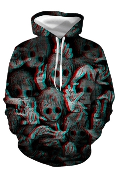 Halloween Series Evil Ghost Digital Print Black Drawstring Hoodie