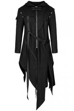 Mens Halloween Cosplay Split Asymmetric Hem Zip Up Black Long Hooded Jacket Coat