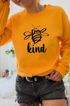 Classic Letter KIND Bee Pattern Crewneck Long Sleeve Casual Graphic Pullover Sweatshirt